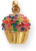 Cupcake with Bead Icing Charm, 14K Yellow Gold
