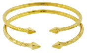 Solid Sterling Silver West-Indian Bangle Set Plated with 14K Gold 35 Grammes