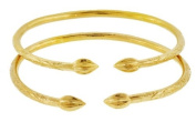 Solid Sterling Silver West-Indian Bangle Set Plated with 14K Gold 45 Grammes
