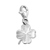 SilberDream Charm shamrock, frosted 925 Sterling Silver Charms Pendant with Lobster Clasp for Charms Bracelet, Necklace or Charms Carrier FC505