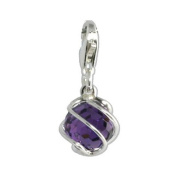 SilberDream Charm Zirkonia Globe amethyst violet 925 Sterling Silver Charms Pendant with Lobster Clasp for Charms Bracelet, Necklace or Charms Carrier FC200V