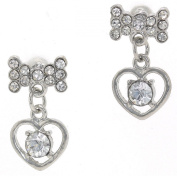 Heart Solitaire Dangle and Bow Austrian Crystal Post Earrings