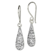 SilberDream Glitter Earring Drop zirconia crystals shiny white, 925 Sterling Silver GSO208W
