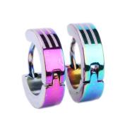 Huggie Earring Stainless Steel with Stripes on Rainbow Anodized, Steel Huggies Earrings