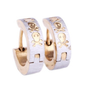 Huggie Earring Stainless Steel with Skull, Two Tone Gold and Silver, Steel Huggies Earrings