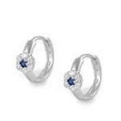 Silver Flower CZ & September Birthstone Huggie Hoop Children Earrings
