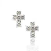 Silver Plated Crystal Six Stone Cross Stud Earrings