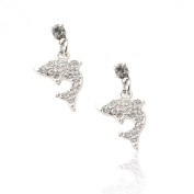 Silver Plated Crystal Jumping Dolphin Stud Earrings