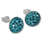 SilberDream Glitter Earring turquoise circle, Czech crystals 925 Sterling Silver GSO215T
