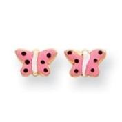 14k Pink Enamelled Butterfly Childrens Earrings - Measures 5x7mm - JewelryWeb