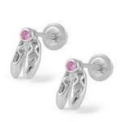 Children's Jewellery - Silver Ballet Shoes Pink CZ Screw Back Earrings