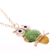 Owl Necklace Long Chain, Owl Pendant in Green and Yellow Tail, Retro Owl Pendant With 63.5cm Chain Colour Gold
