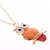 Owl Necklace Long Chain, Owl Pendant in Orange and Red Tail,Retro Owl Pendant With 63.5cm Chain Colour Gold