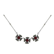 Sterling Silver and Marcasite Faux Coral Flower Necklace 40.6cm