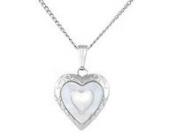 38cm Sterling Silver Mother of Pearl Heart Children Locket Necklace
