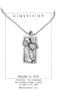 Clayvision Basketball Hoops Girl Rectangle Pendant Necklace