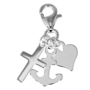 SilberDream Charm anchor,heart and cross, 925 Sterling Silver Charms Pendant with Lobster Clasp for Charms Bracelet, Necklace or Charms Carrier FC506