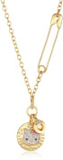 """Hello Kitty by Simmons Jewellery Co. """"Hammered Disc 14K Gold Plated"""" Pink. Crystal Accents Hammered Kitty Disc Pendant Necklace"""
