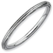 Elegant Joy 925 Sterling Silver Stackable Rhodium Plated Step Down Ring