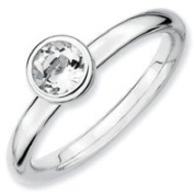 0.6ct Silver Stackable 5mm Round White Topaz Ring. Sizes 5-10 Available