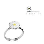 Sterling Silver Enamelled Daisy Flower Adjustable Girls Jewellery Ring