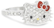 Hello Kitty by Simmons Jewellery Co. Czech Crystals Flat Pave Face and Red Girl's Bow Ring, size 7