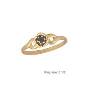 3 1/2 Children 14K Gold Flower Shape September Birthstone Ring - Sapphire