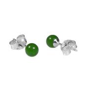 925 Sterling Silver 4mm Natural Nephrite Green Jade Ball Stud Post Earrings