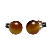 925 Sterling Silver 6mm Natural Brown Tigers Eye Ball Stud Post Earrings