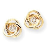 14k Polished Love Knot Earrings Jackets - JewelryWeb
