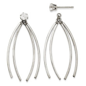 14kw Curved Dangles with CZ Stud Earring Jackets
