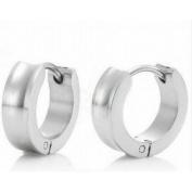 Beautiful Genuine Silver Stainless Steel Huggies Earrings