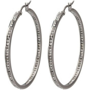 Ladie's Stainless Steel High Polish Inside-Out Channel Set White Diamond CZ Cubic Zirconia Hoop Earrings