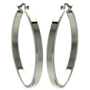 Stainless Steel 40mm High Polish Flat Fashion Hoops Hinge with Notched Post Earrings