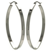 Stainless Steel 50mm High Polish Flat Fashion Hoops Hinge with Notched Post Earrings