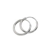 Continuous Endless Hoop Round Circle Small Sterling Silver Earrings 10mm