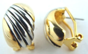 Silver & Gold Finish Half Hoop Omega Clip Earrings Gift Boxed