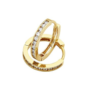 14K Yellow Gold Plated 2.5mm Thickness CZ Channel Set Hoop Huggies Earrings