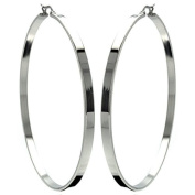 Stainless Steel 70mm High Polish Classic Hoop Huggie Hinge with Notched Post Earrings