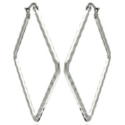 Stainless Steel 40mm High Polish Diamond Shape Hoop Hinge with Notched Post Earrings