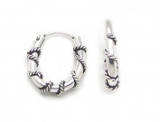 Tiny Oblong Roped Hoops Wrapped Sterling Silver Huggie Hoop Earrings