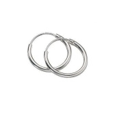 Continuous Endless Hoop Round Circle Small Sterling Silver Earrings 14mm