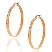 Stainless Steel Rose Gold-Tone White Crystals CZ Womens Round Hoop Earrings