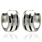 Stainless Steel 14mm High Polish Classic Grooved Huggie Hoops Hinge with Notched Post Earrings