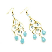 Pacific Blue Crystal and Blue Opal 7.6cm Goldtone Chandelier Earrings
