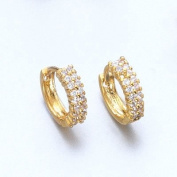 Hoop White Cubic Zirconia Stones Earrings - High Quality 18ct Yellow Gold Plated