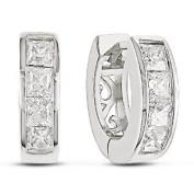 Jewellery Bling Tiny Cz .925 Sterling Silver Huggie Hoop Earrings 2 Ctw - Ear Huggers