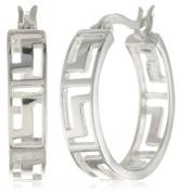 Sterling Silver Tarnish-Free Greek Key Small Cut-Out Hoop Earrings
