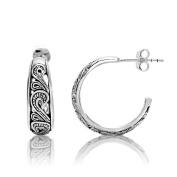 925 Oxidised Sterling Silver Filigree Bali Inspired Half Hoop Post Earrings Women Jewellery - Nickel Free