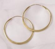Hammered Brass Hoop Earrings - 3.2cm